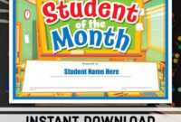 Free Student Of The Month Certificate Instant Download pertaining to Free Printable Student Of The Month Certificate Templates