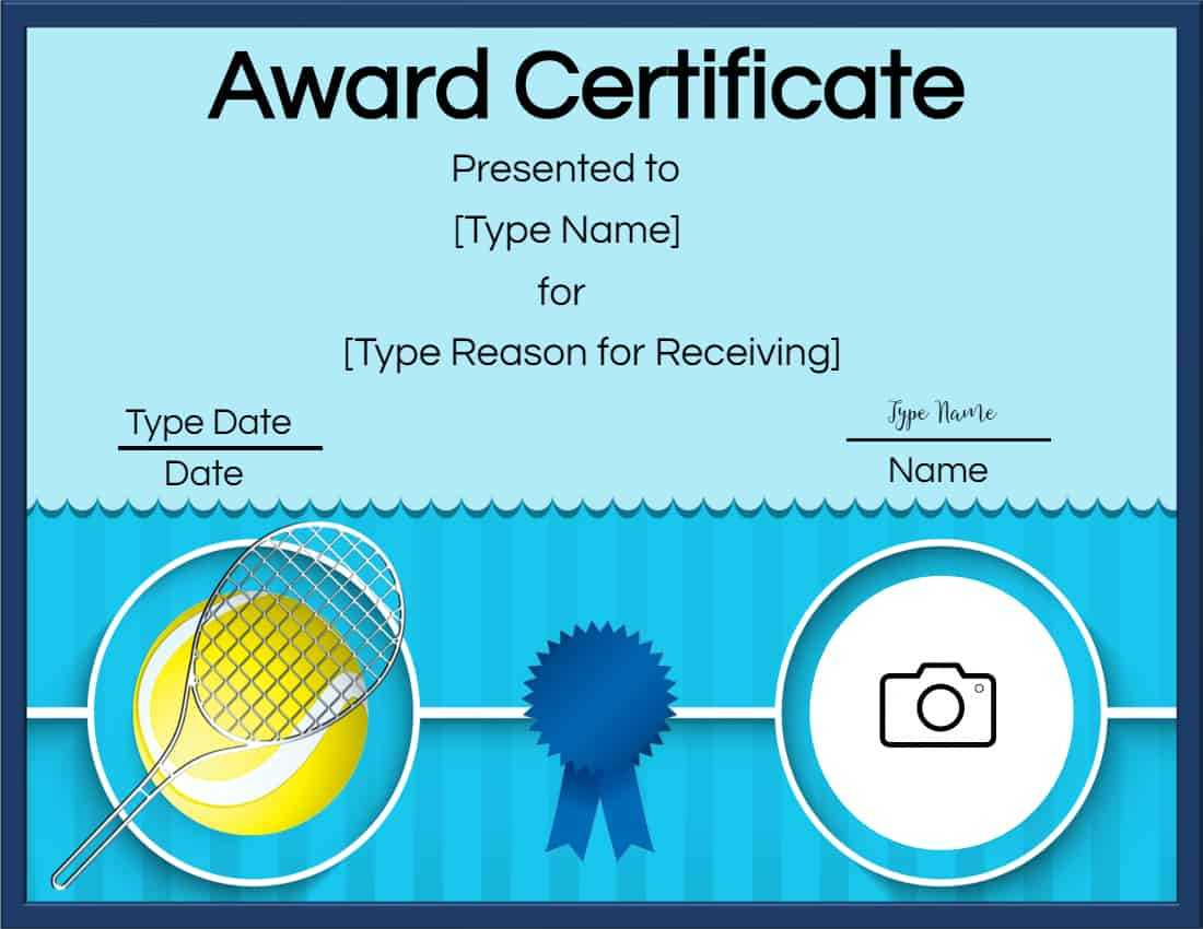 Free Tennis Certificates | Edit Online And Print At Home Throughout Tennis Certificate Template Free