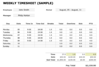 Free Time Card Calculator & Weekly Timesheet Tools inside Weekly Time Card Template Free