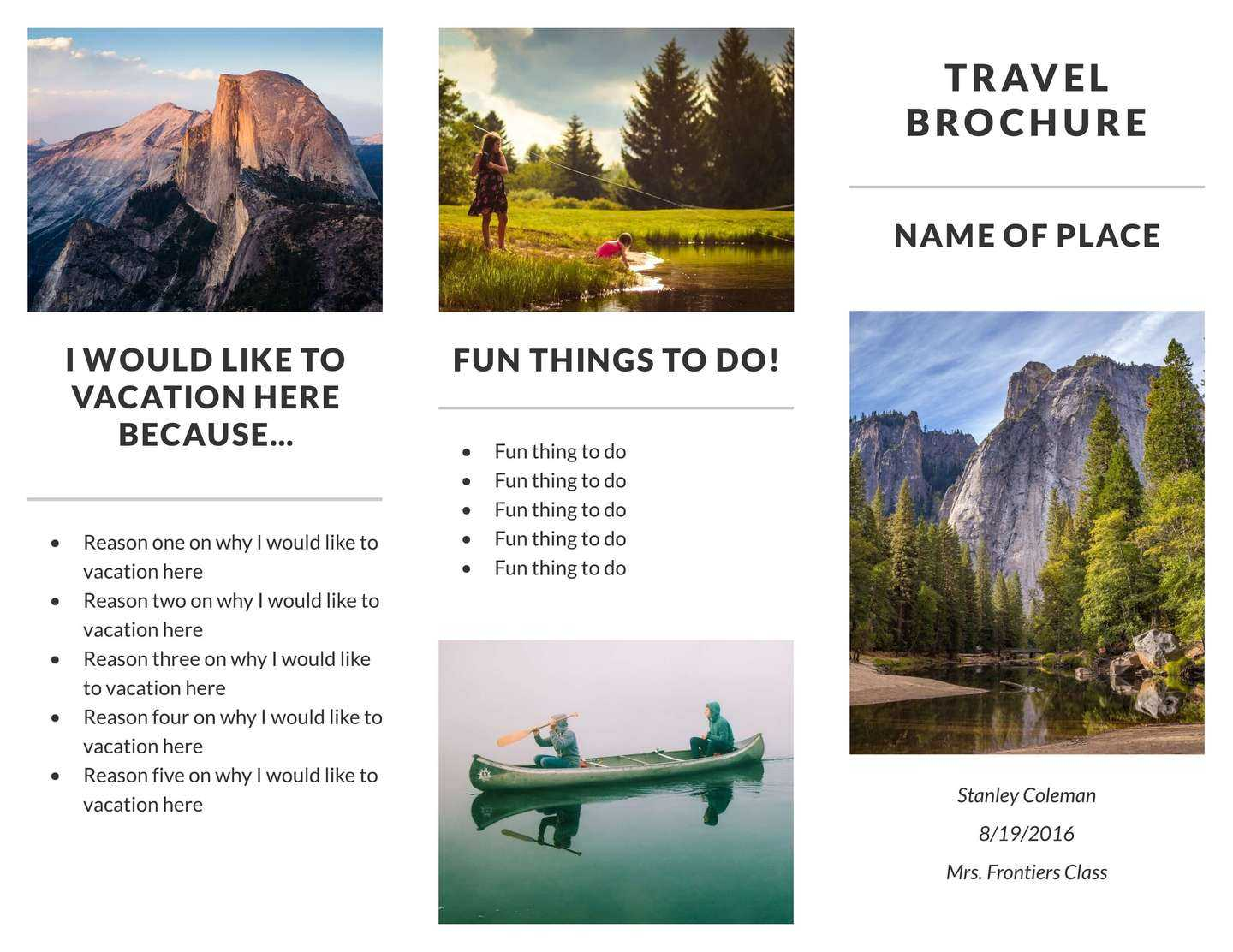 Free Travel Brochure Templates & Examples [8 Free Templates] With Regard To Travel And Tourism Brochure Templates Free
