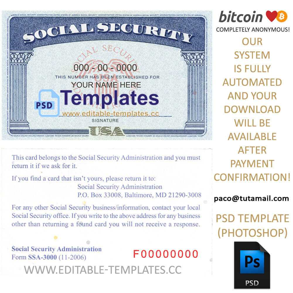 Fully Editable Ssn Usa Psd Template Pertaining To Social Security Card Template Psd