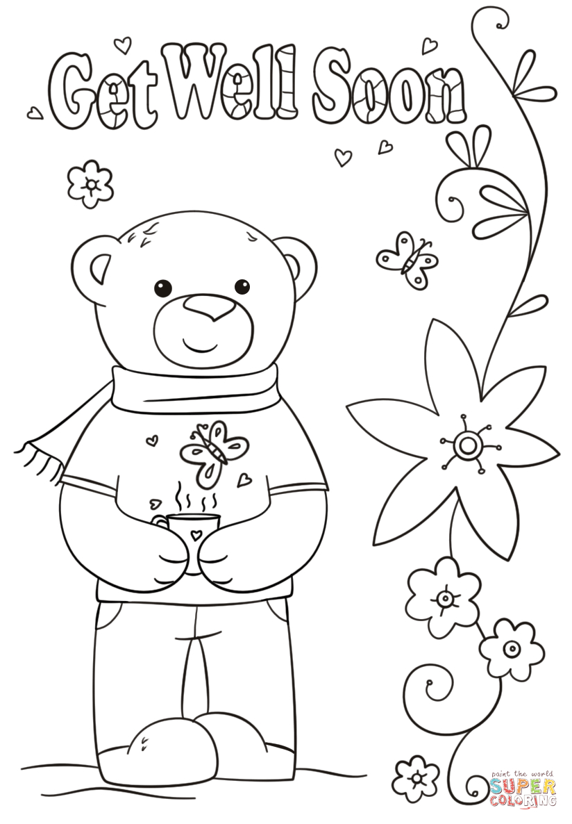 Funny Get Well Soon Coloring Page | Free Printable Coloring Intended For Get Well Soon Card Template