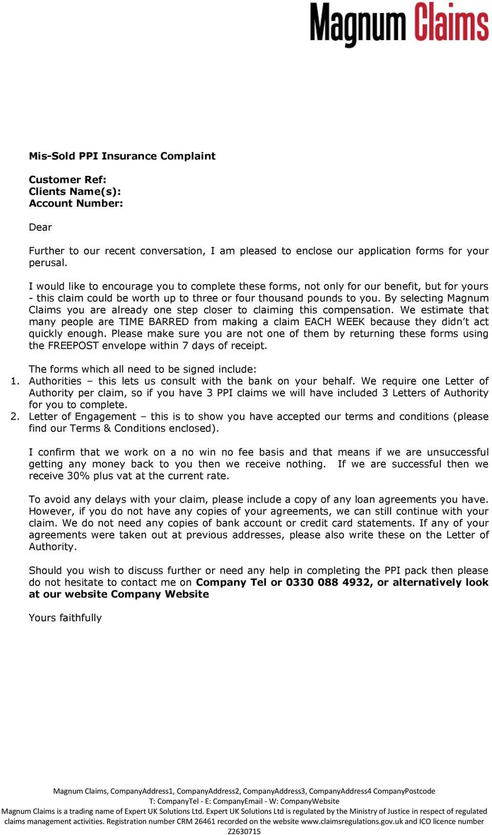 Further To Our Recent Conversation, I Am Pleased To Enclose Intended For Ppi Claim Letter Template For Credit Card