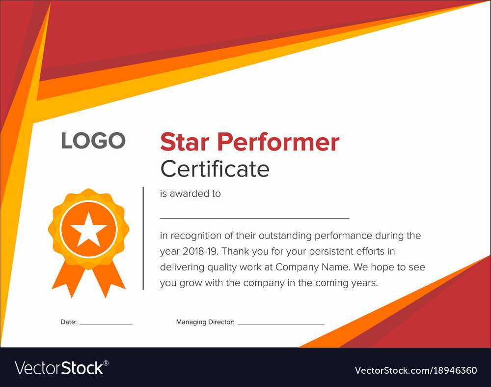 Geometric Red And Gold Star Performer Certificate With Star Performer Certificate Templates