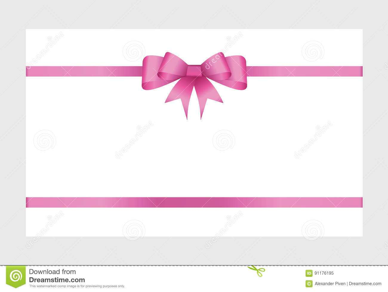 Gift Card With Pink Ribbon And A Bow Stock Vector For Pink Gift Certificate Template