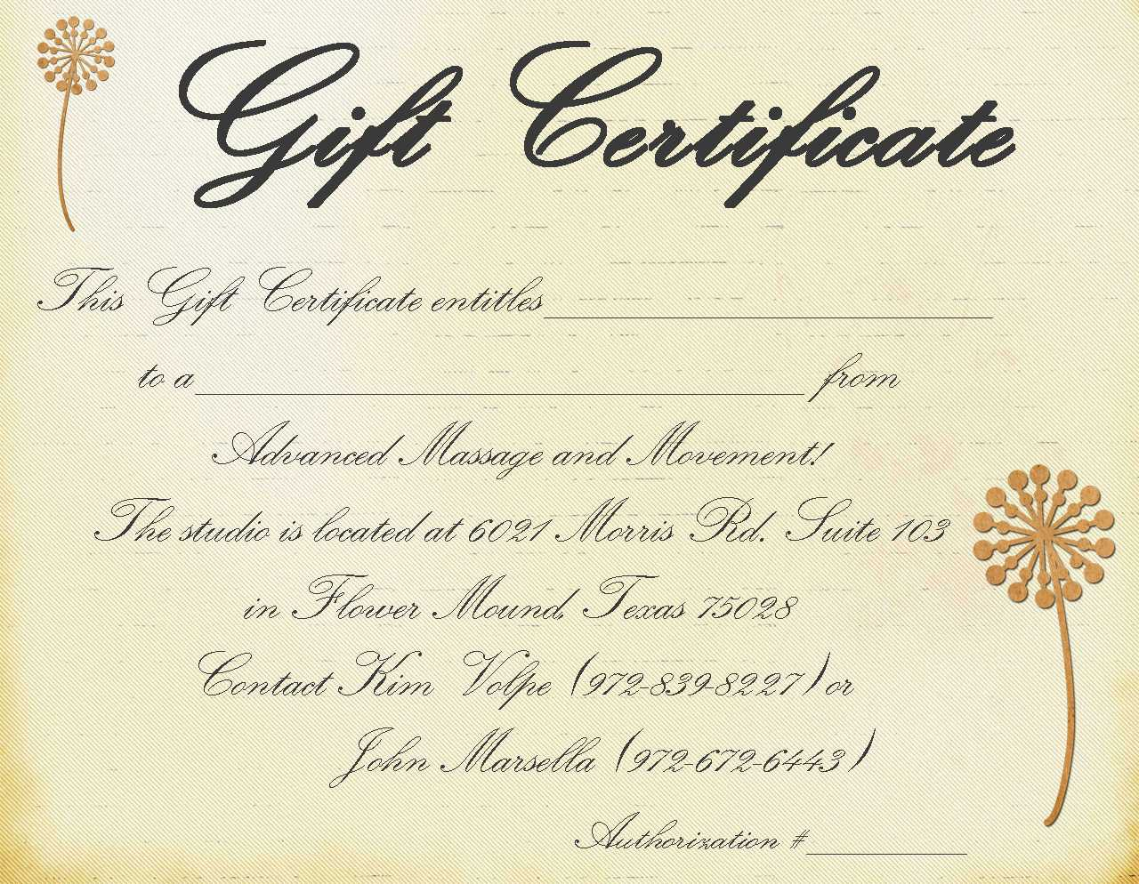 Gift Certificate Massage Template | Certificatetemplategift With Massage Gift Certificate Template Free Printable