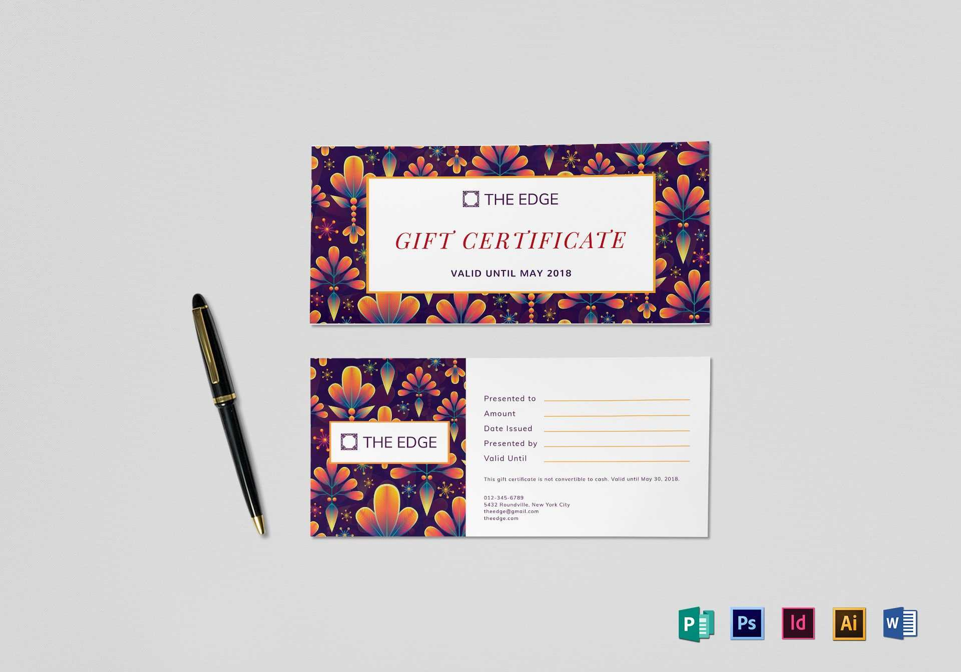 Gift Certificate Template In Indesign Gift Certificate Template