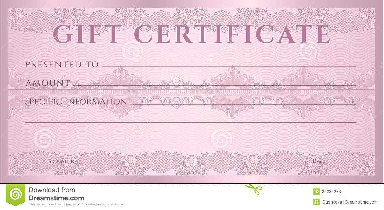 Gift Certificate (Voucher, Coupon) Template Stock Vector Within Pink Gift Certificate Template