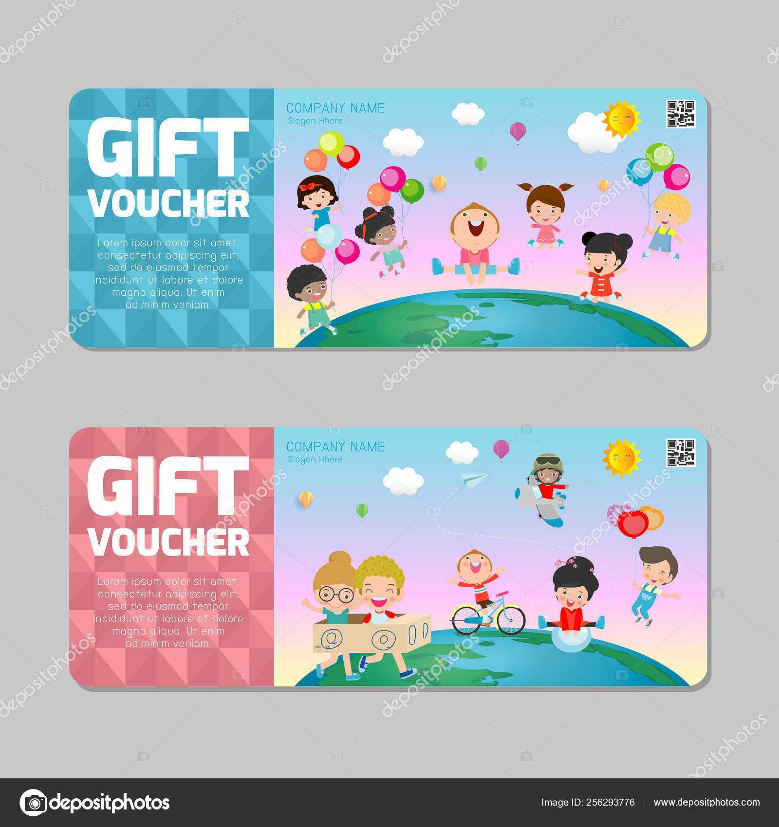Gift Voucher Template Colorful Pattern Cute Gift Voucher In Kids Gift Certificate Template