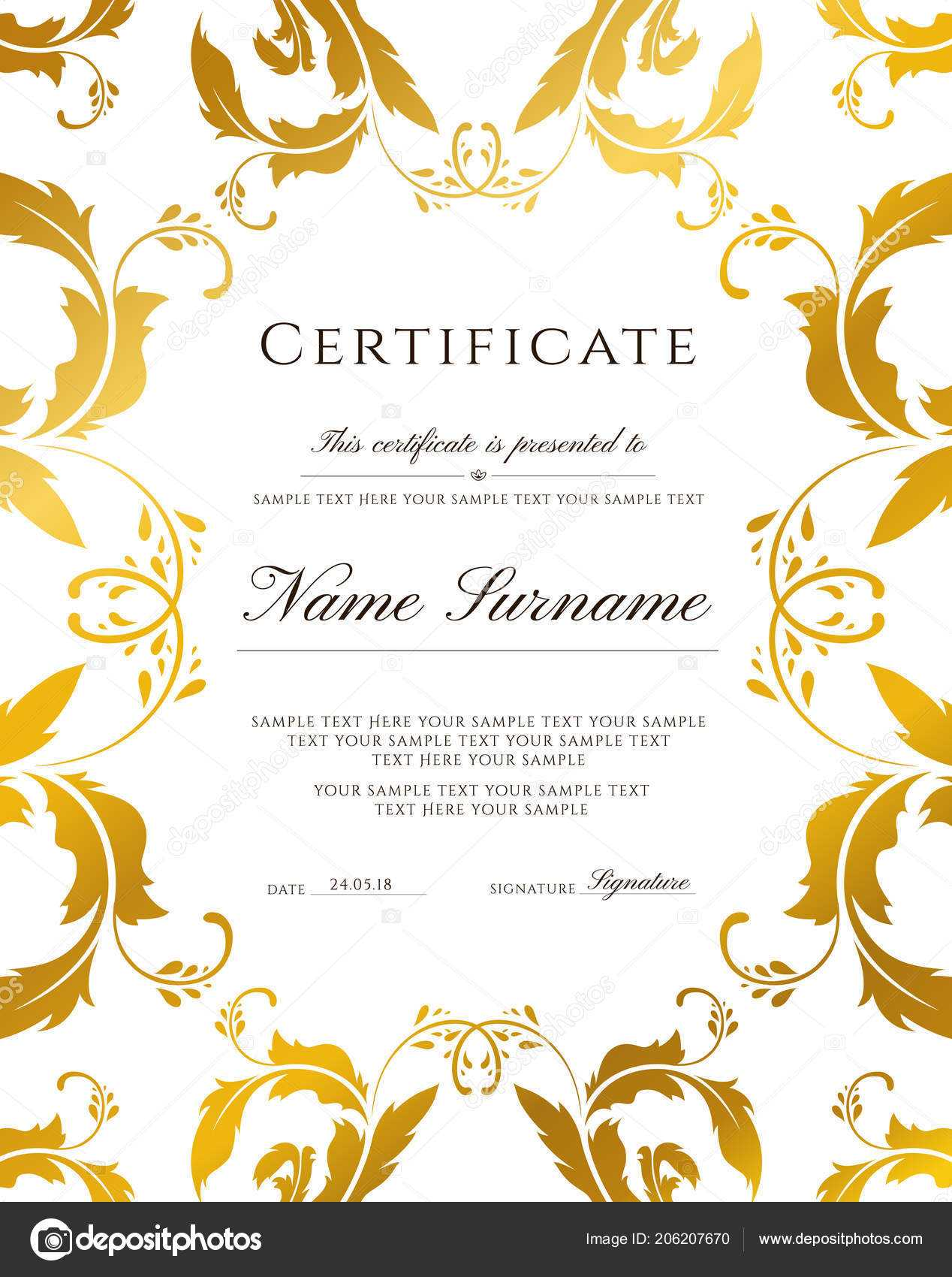 Gold Border Template   Certificate Template Gold Border In Award Certificate Border Template