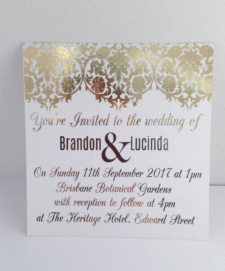 Gold Foil Wedding Invitation Set With Rsvp Card - Sample For Engagement Invitation Card Template