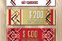 Golden Red Gift Certificate Template In Art Deco throughout Mock Certificate Template