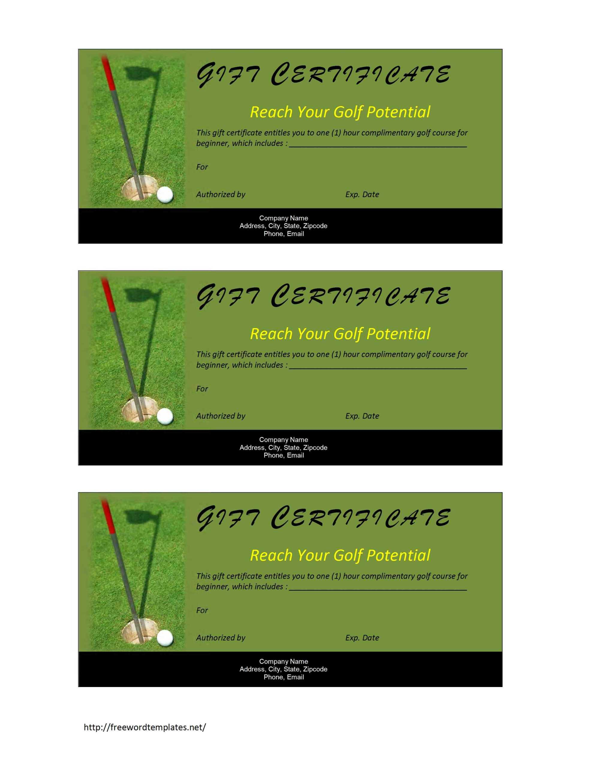 Golf Course Gift Certificate Template Free | Resume Writing In Golf Gift Certificate Template