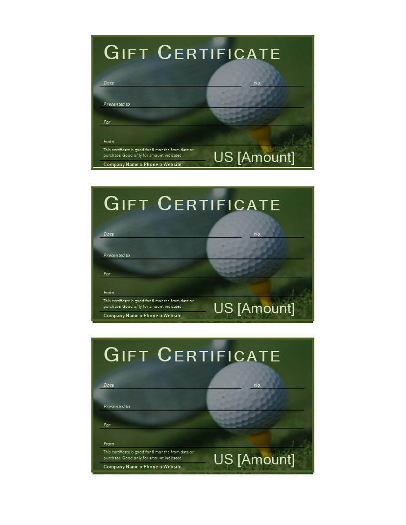 Golf Gift Certificate | Templates At Allbusinesstemplates With Golf Gift Certificate Template