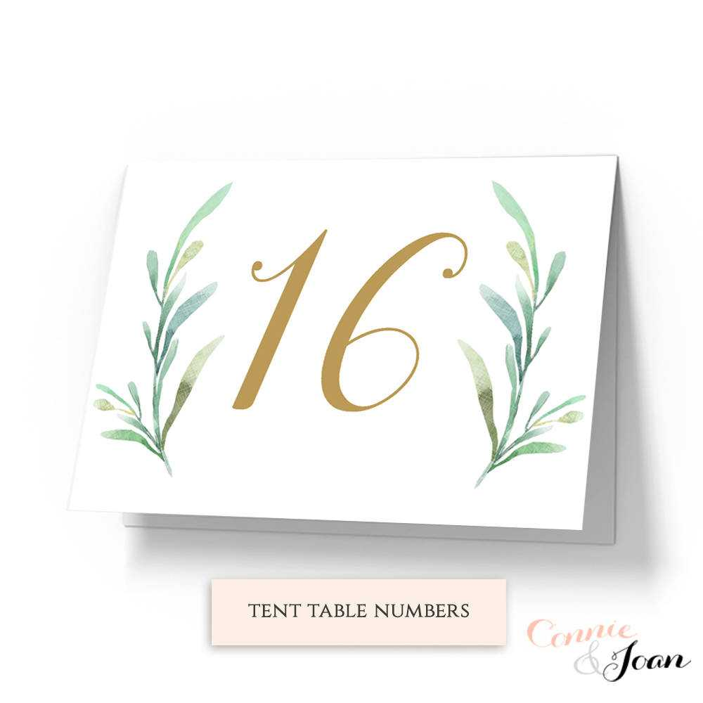 Greenery Tent Wedding Table Numbers Template, Printable In Table Number Cards Template