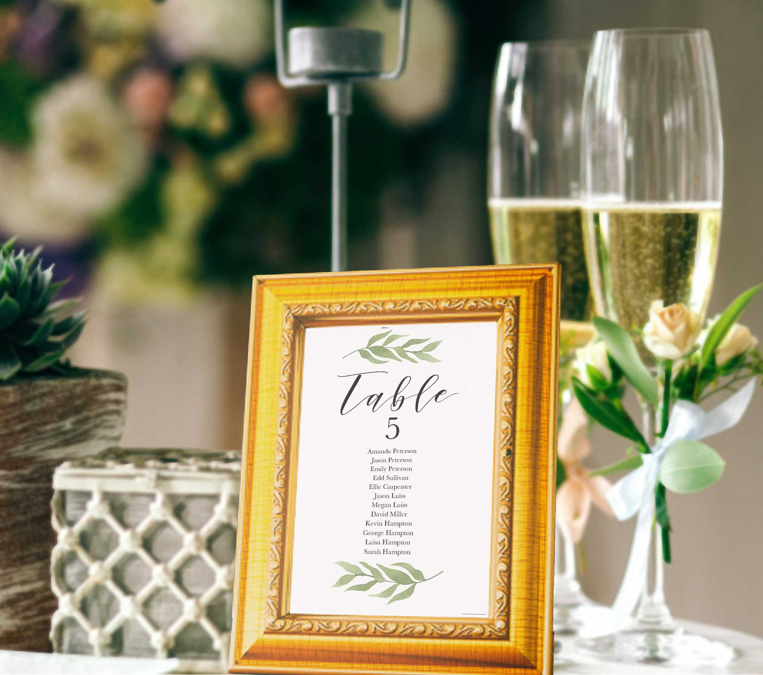 Greenery Wedding Table Number Cards With Guests Names Regarding Table Number Cards Template