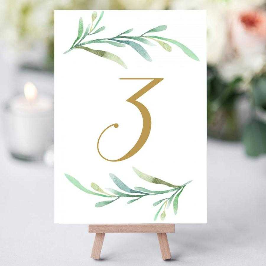 Greenery Wedding Table Numbers Template, Printable Reception In Table Number Cards Template
