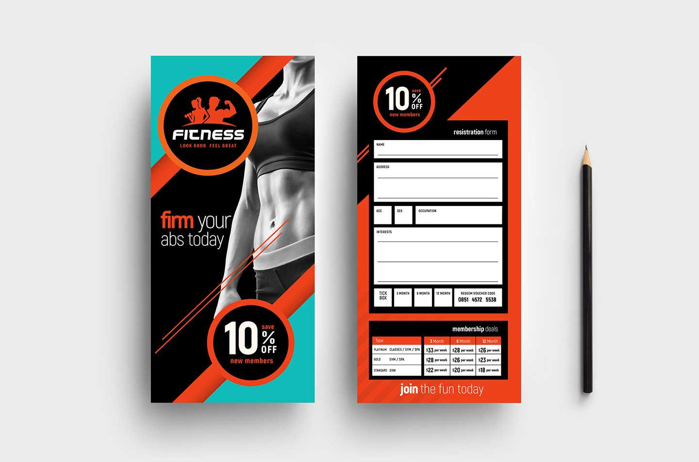 Gym / Fitness Dl Rack Card Template In Psd, Ai & Vector Within Gym Membership Card Template