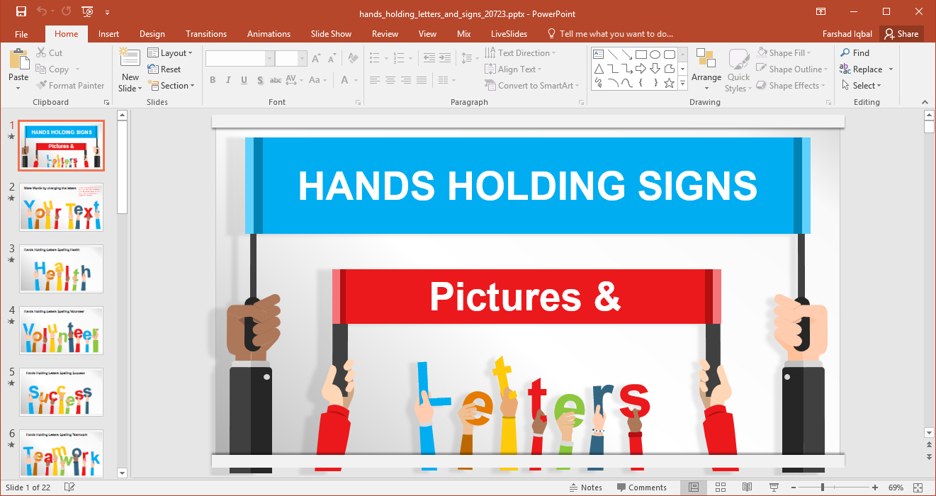 Hands Holding Letters And Signs Powerpoint Template Within Powerpoint Default Template