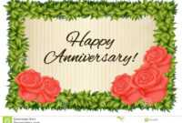 Happy Anniversary Card Template With Red Roses Stock inside Template For Anniversary Card