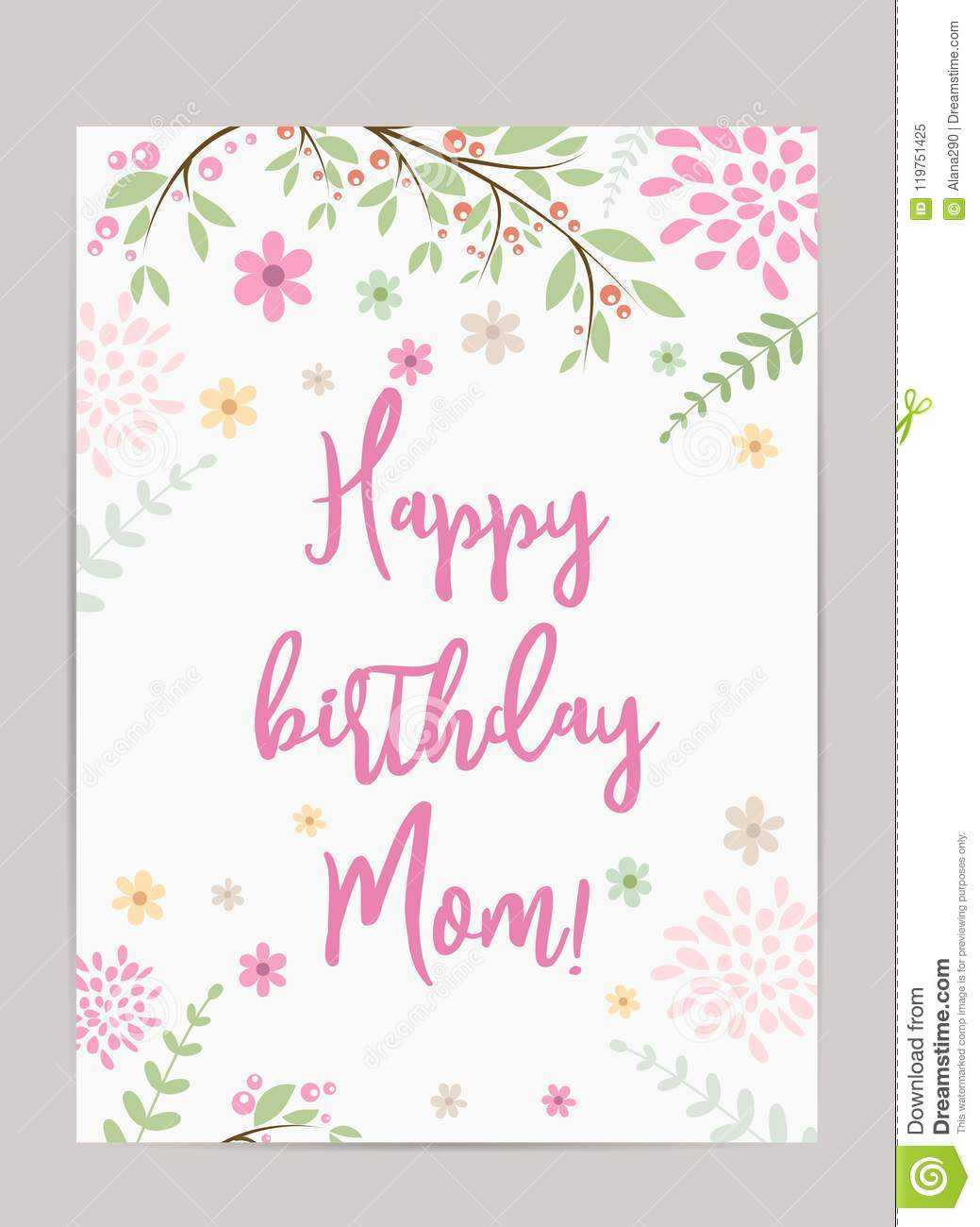 Happy Birthday Mom! Greeting Card Stock Vector For Mom Birthday Card Template