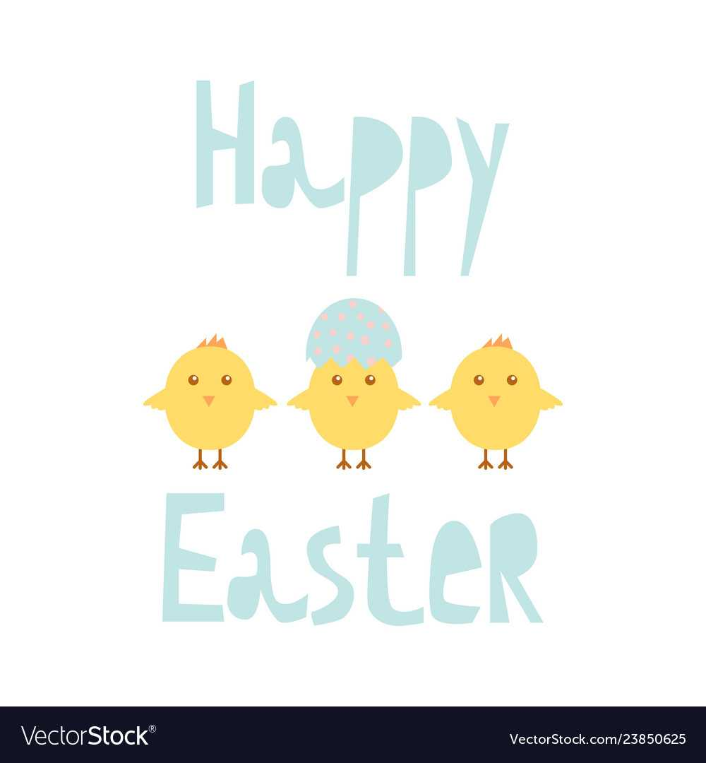 Happy Easter Greeting Card Template With Chicks Inside Easter Chick Card Template