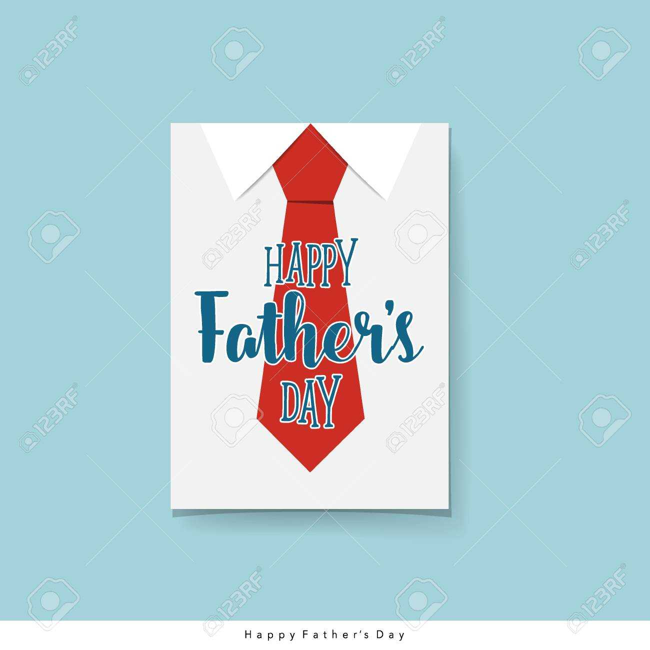 Happy Fathers Day Card Design With Big Tie. Vector Illustration. Throughout Fathers Day Card Template