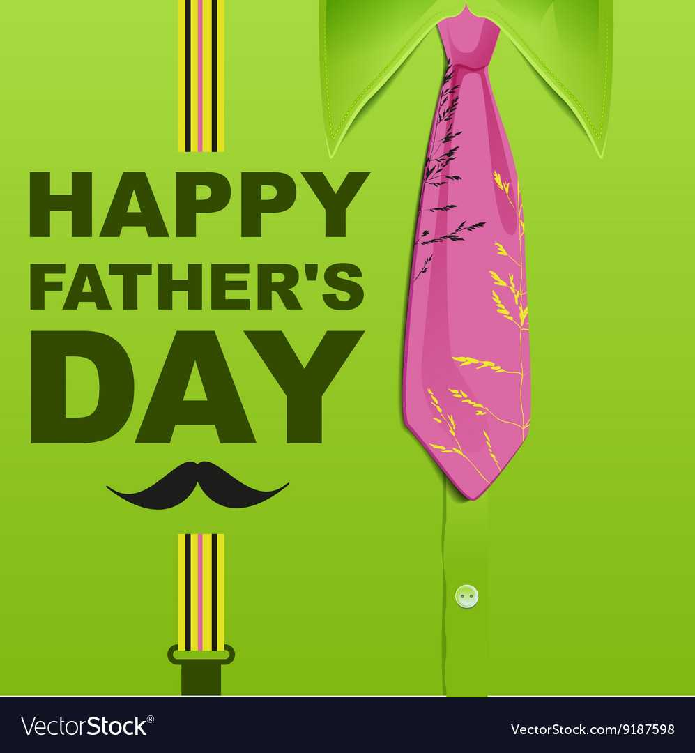 Happy Fathers Day Template Green Greeting Card With Fathers Day Card Template