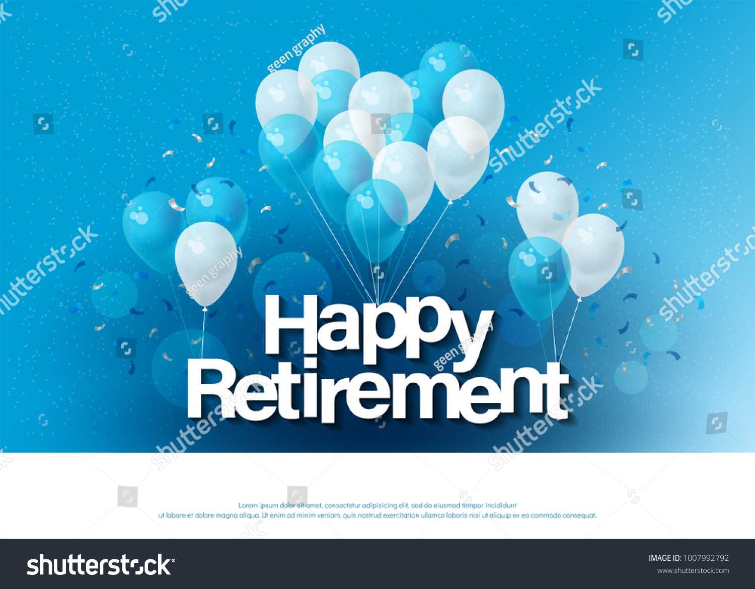 Happy Retirement Greeting Card Lettering Template Stock With Regard To Retirement Card Template