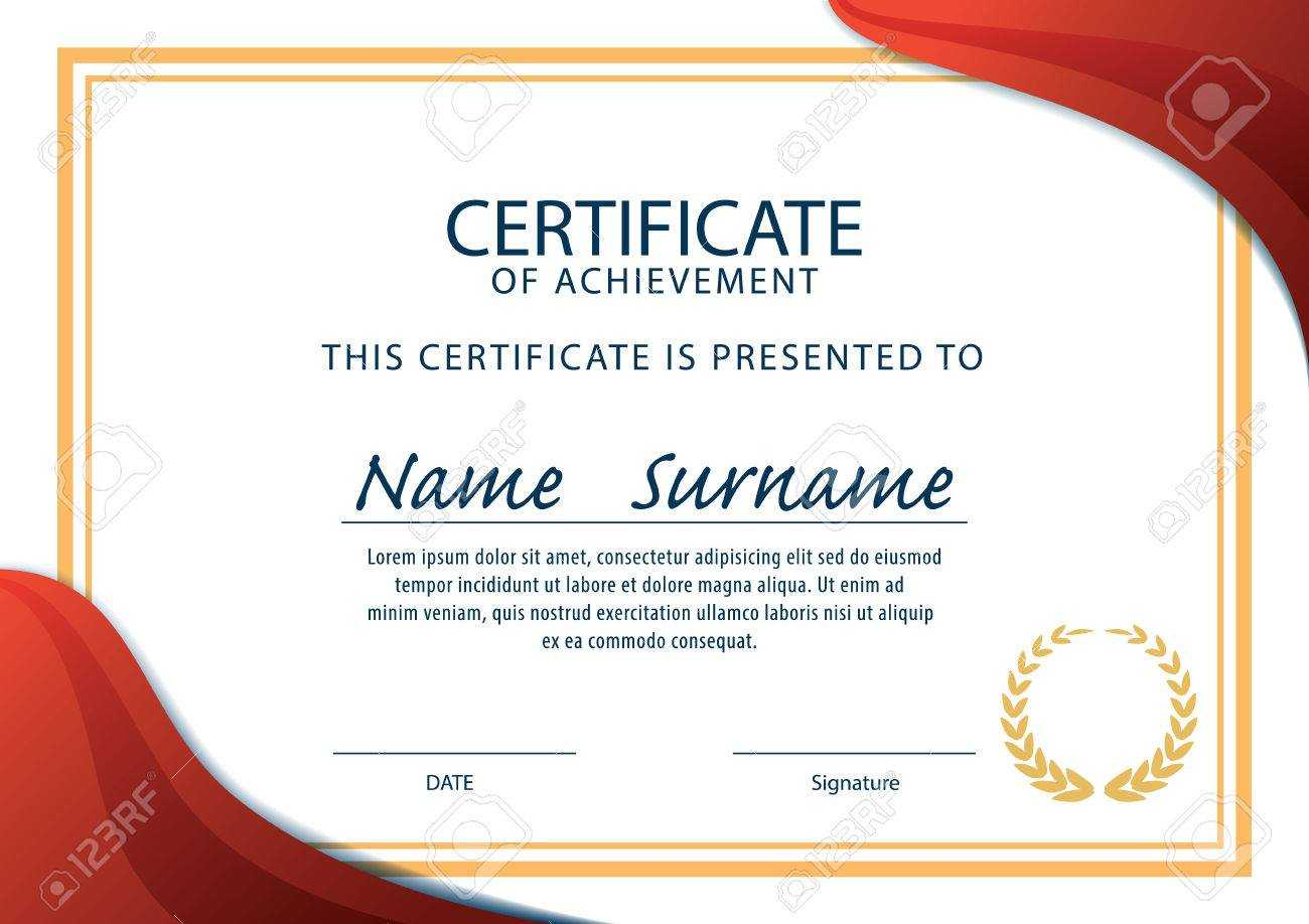 Horizontal Certificate Template,diploma,a4 Size ,vector With Certificate Template Size