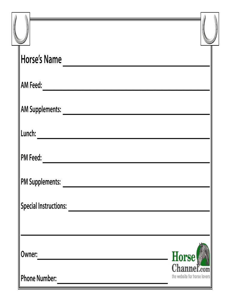 Horse Stall Cards Templates – Fill Online, Printable Inside Horse Stall Card Template