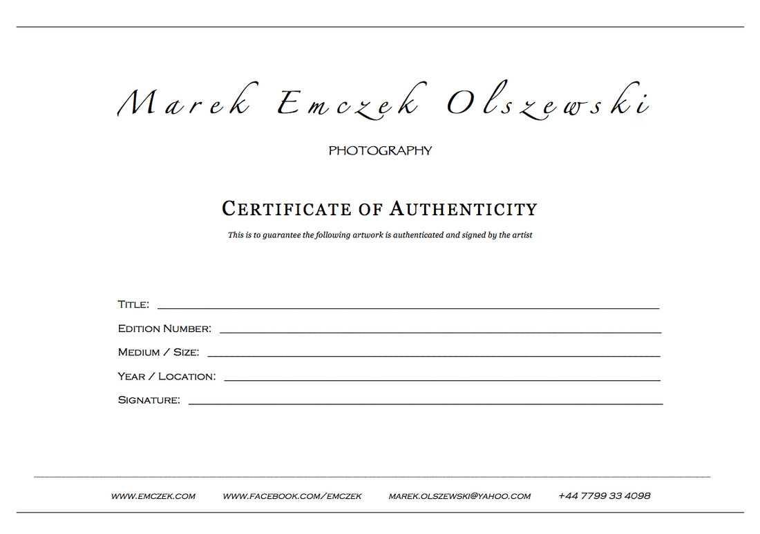 How To Create A Certificate Of Authenticity For Your Photography Regarding Photography Certificate Of Authenticity Template