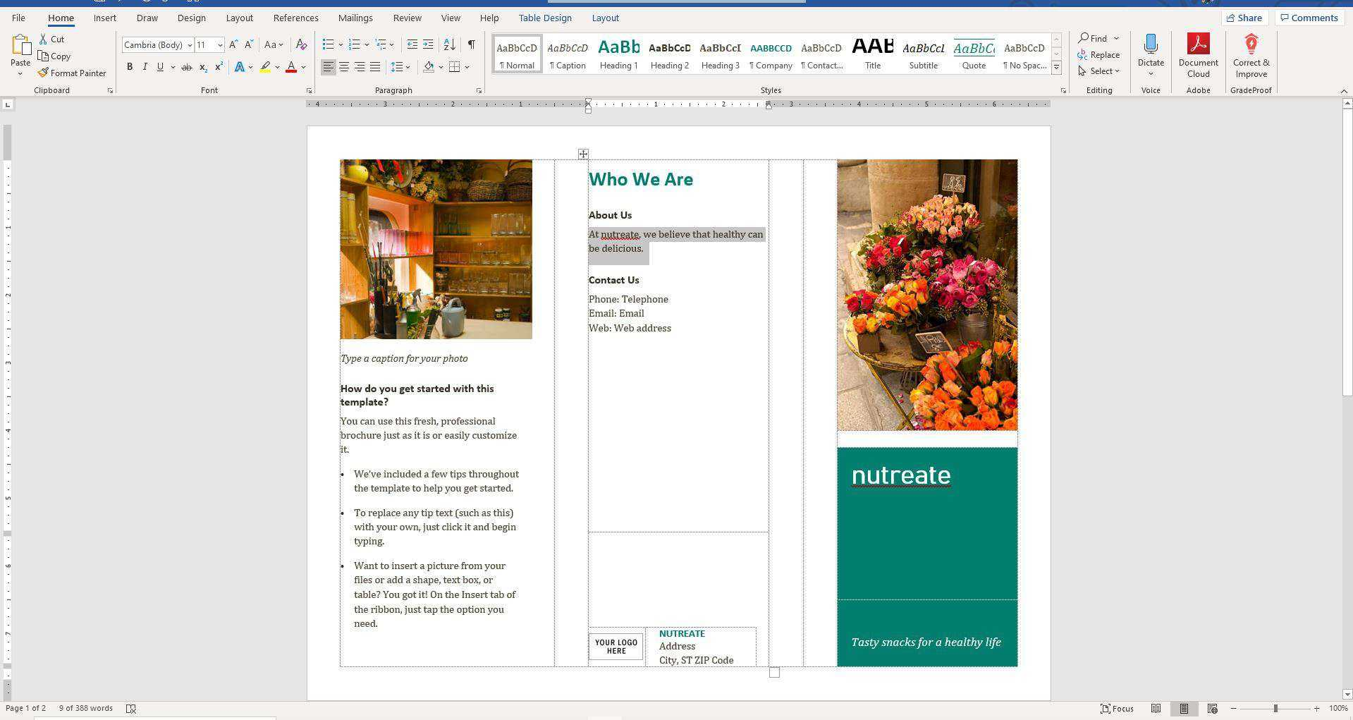 How To Make A Brochure On Microsoft Word Within Word 2013 Brochure Template