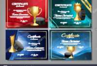 Ice Hockey Game Certificate Diploma With Golden Cup Set in Hockey Certificate Templates