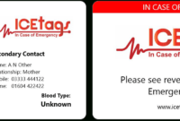 Ice Wallet Card | Full Size Icetags | Free Uk Delivery for In Case Of Emergency Card Template