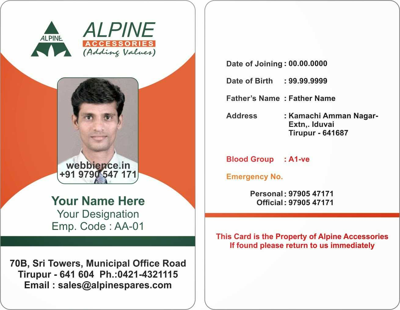 Id Cards Format – Mahre.horizonconsulting.co Inside Employee Card Template Word