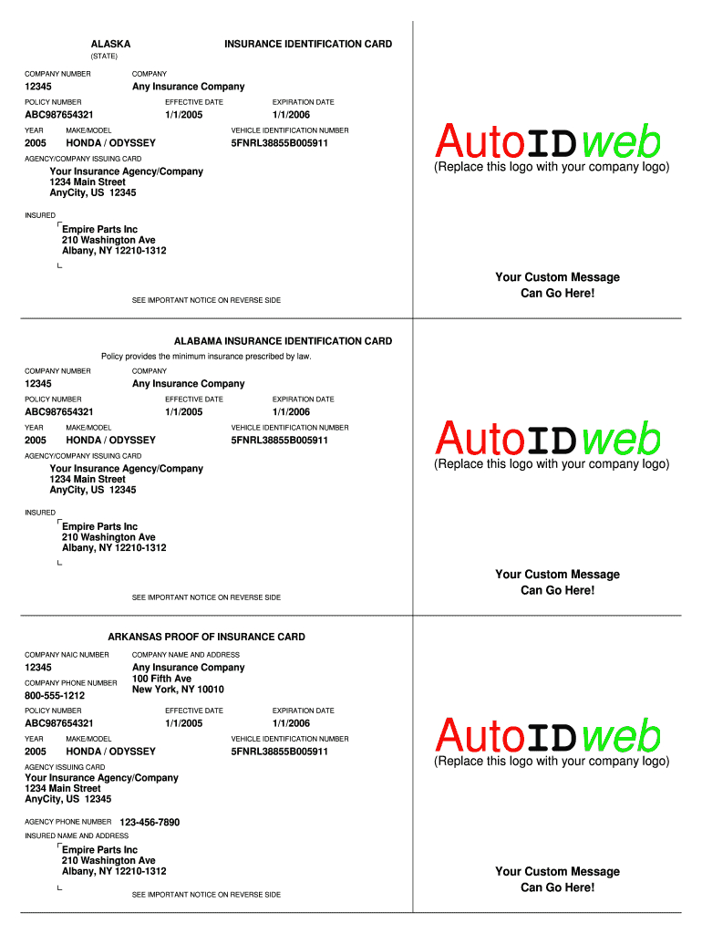 Insurance Card Template - Fill Online, Printable, Fillable Throughout Auto Insurance Card Template Free Download