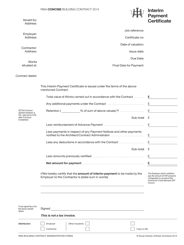 Interim Certificate – Fill Online, Printable, Fillable Inside Practical Completion Certificate Template Uk