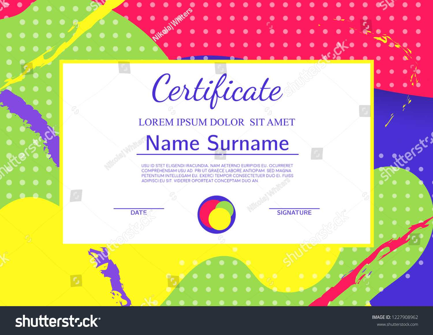 Kids Diploma Certificate Template Abstract Shapes Stock Intended For Fun Certificate Templates