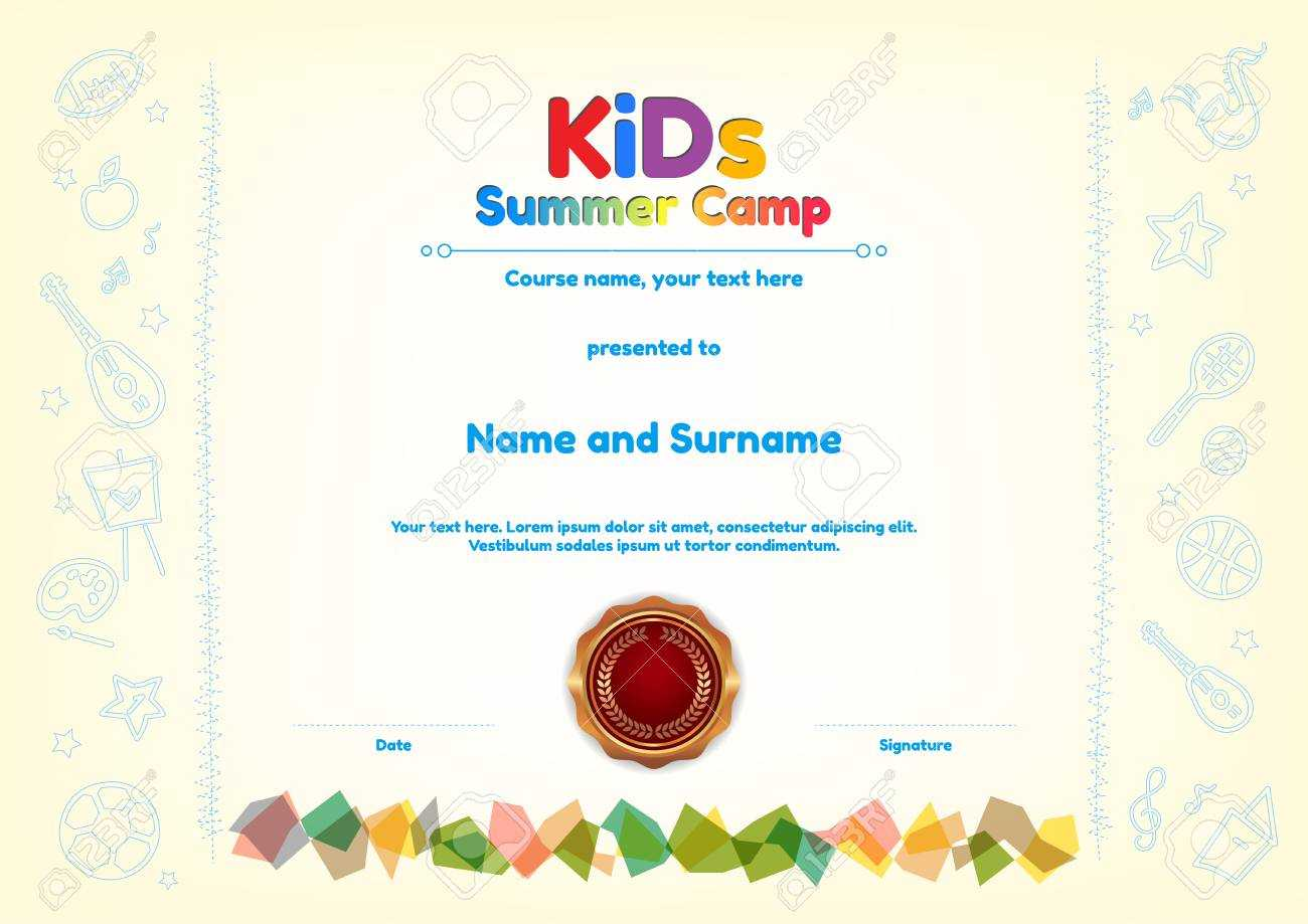 Kids Summer Camp Diploma Or Certificate Template Award Seal With.. Intended For Fun Certificate Templates