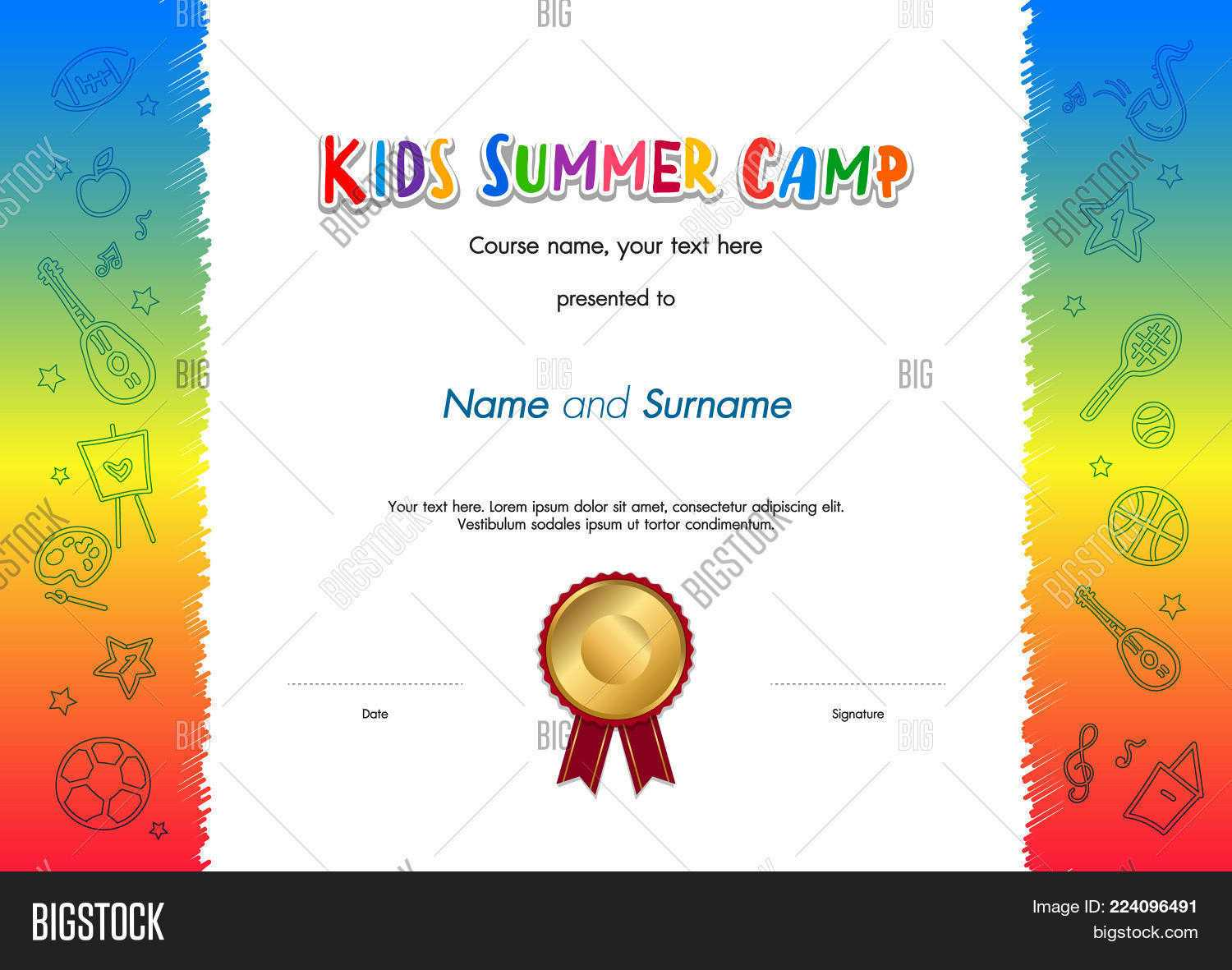 Kids Summer Camp Vector & Photo (Free Trial) | Bigstock Intended For Fun Certificate Templates