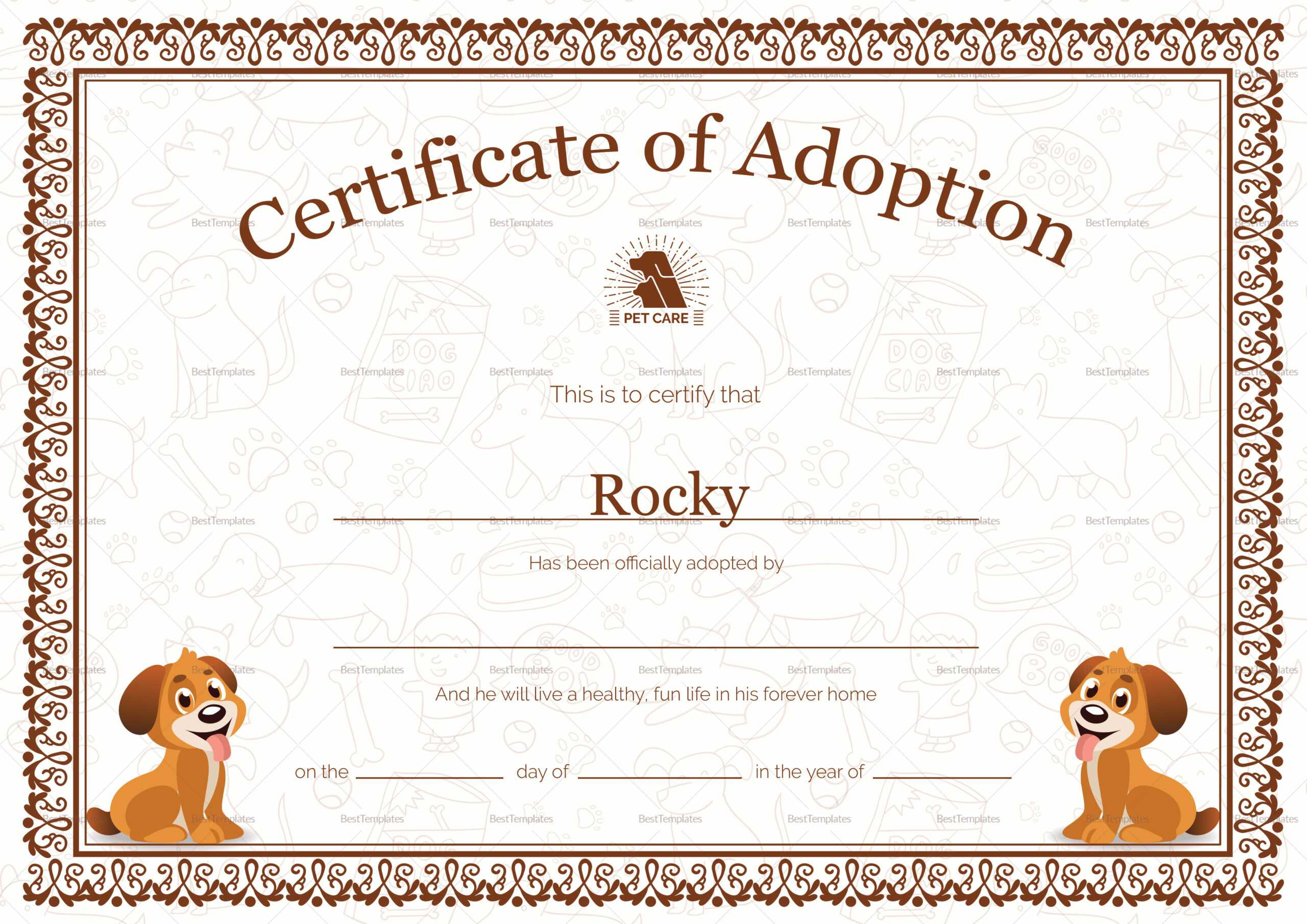 Kitten Adoption Certificate For Toy Adoption Certificate Template