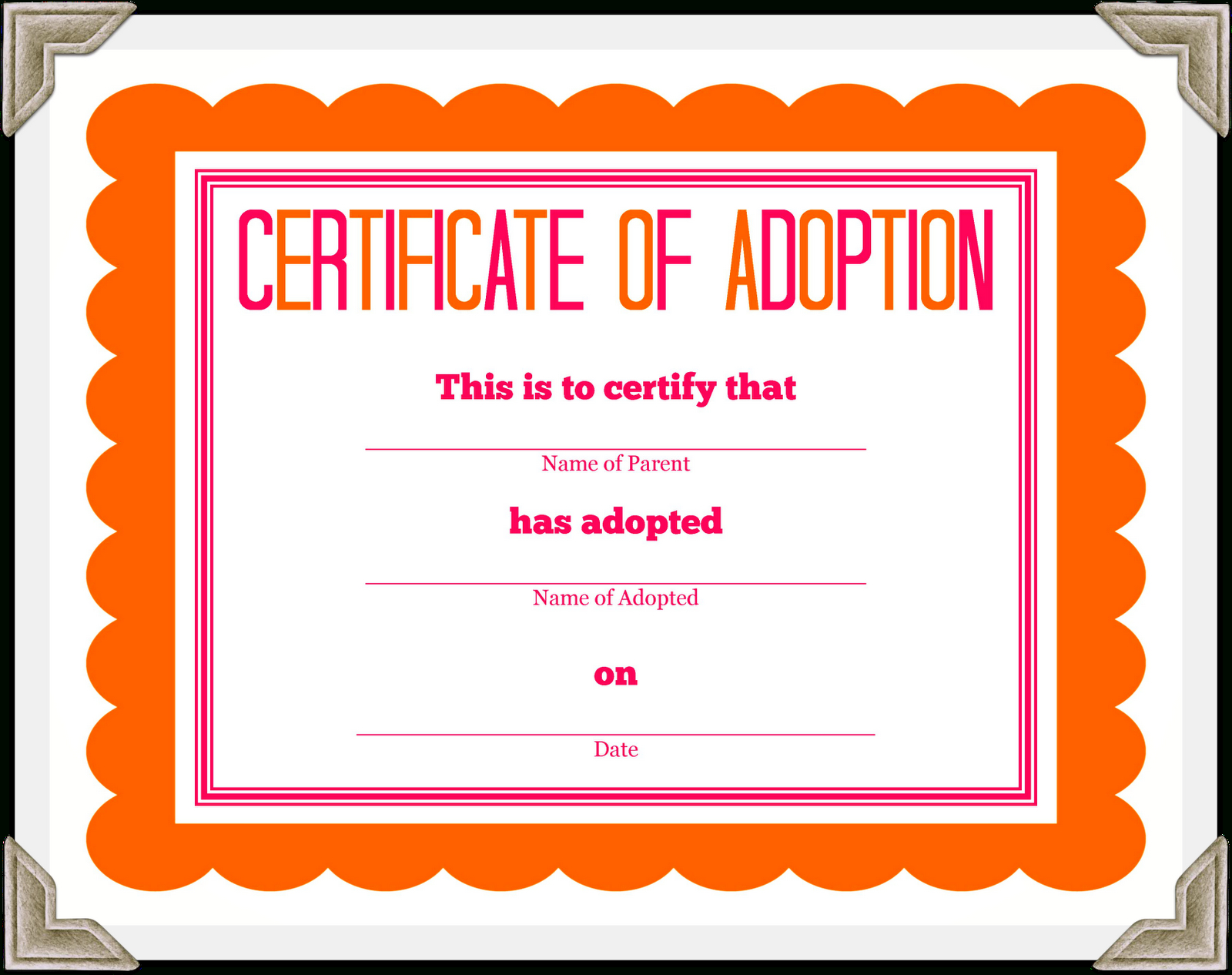Kitten Adoption Certificate Regarding Pet Adoption Certificate Template