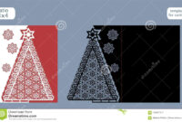 Laser Cut Out Christmas Card Template. Die Cut Paper Card in Fold Out Card Template
