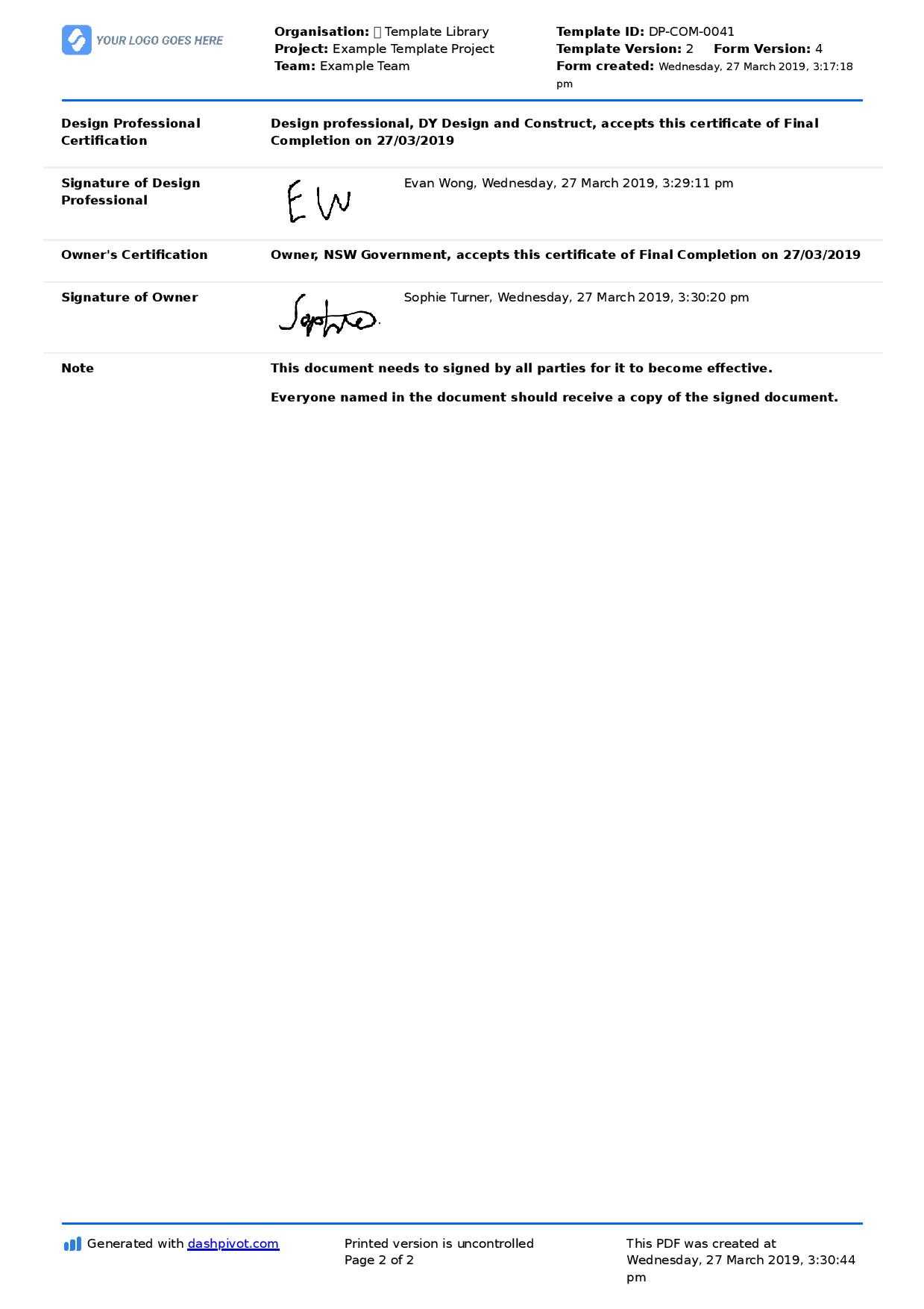 Letter Of Completion Of Work Sample (Use Or Copy For Yourself) Within Practical Completion Certificate Template Uk