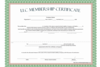Llc Membership Certificate – Free Template For New Member Certificate Template