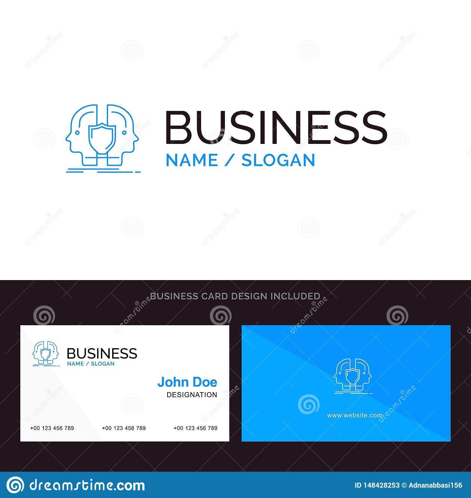 Man, Face, Dual, Identity, Shield Blue Business Logo And For Shield Id Card Template