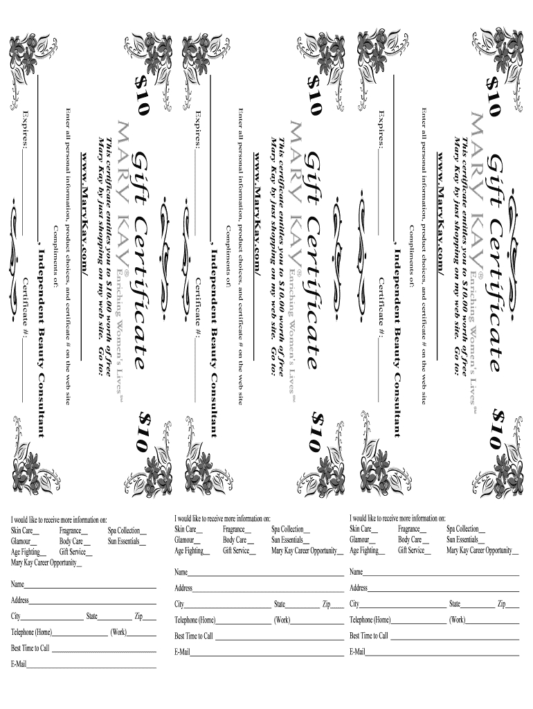 Mary Kay Gift Certificate - Fill Online, Printable, Fillable With Regard To Mary Kay Gift Certificate Template