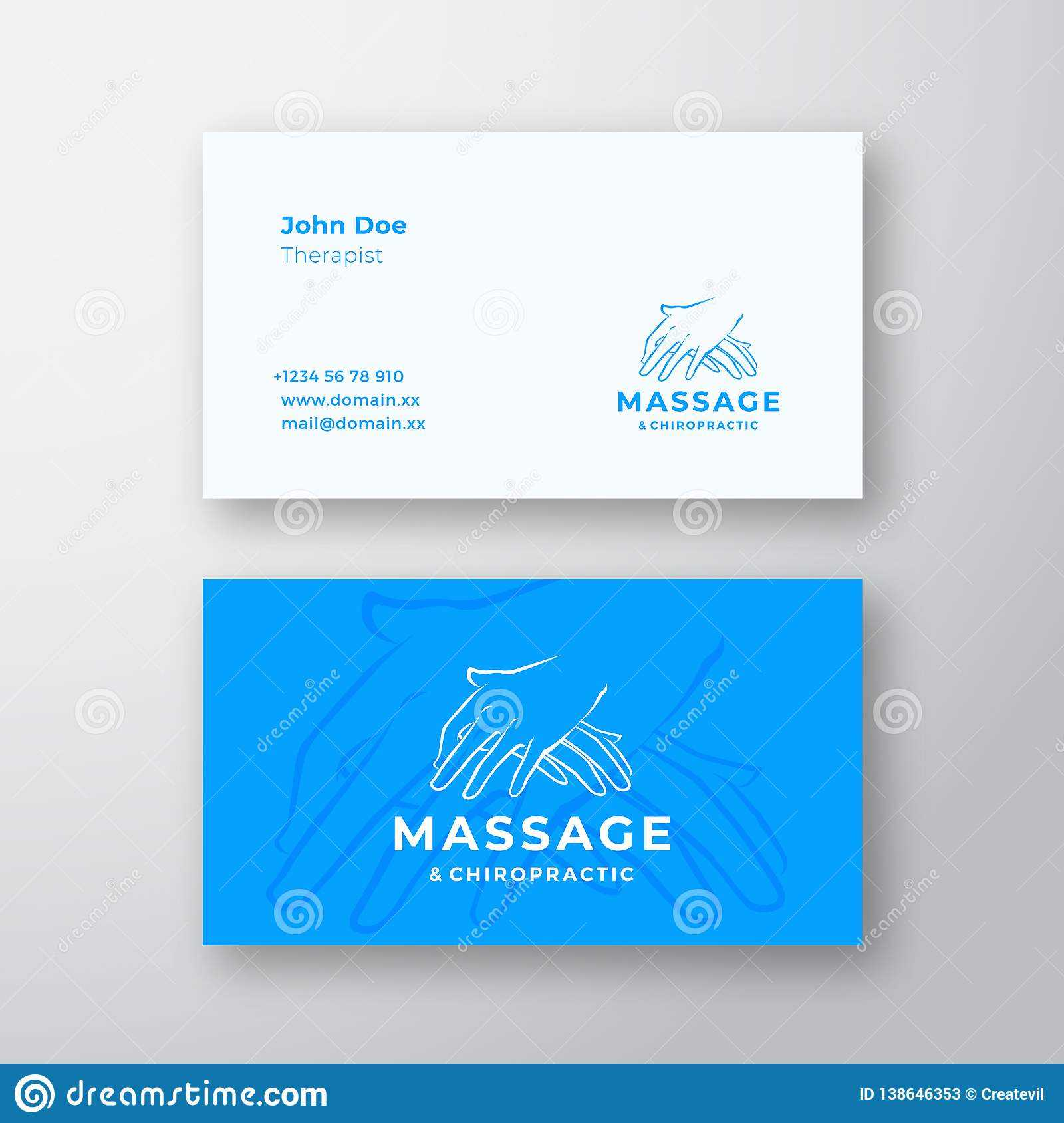 Massage And Chiropractic Abstract Vector Logo And Business With Massage Therapy Business Card Templates