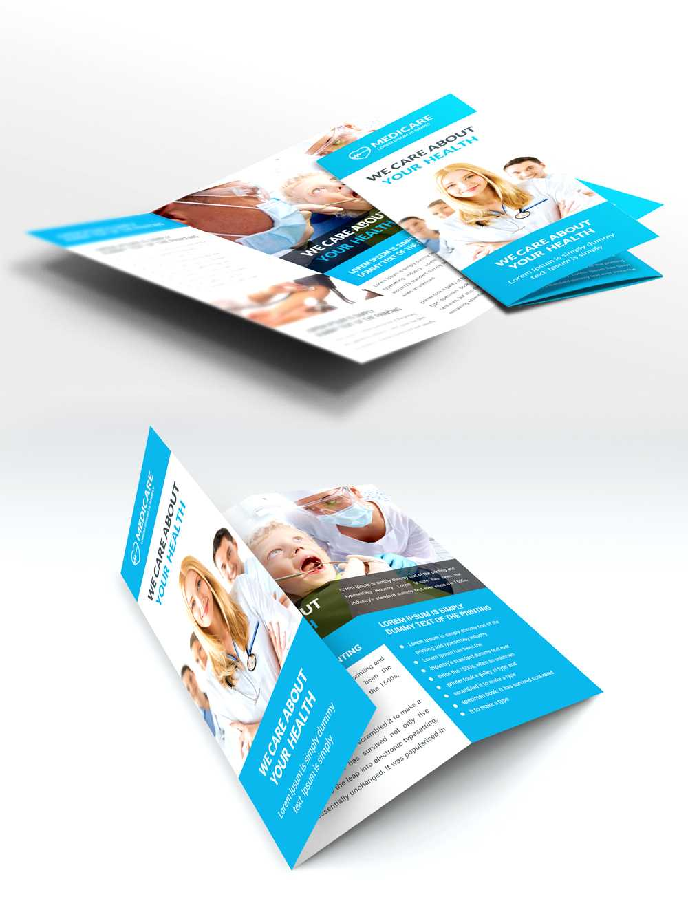 Medical Care And Hospital Trifold Brochure Template Free Psd Throughout Medical Office Brochure Templates